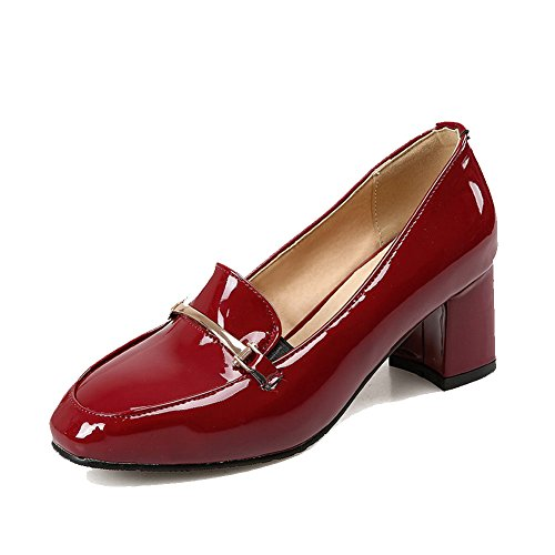 Couleur Talon Tire Légeres Chaussures Correct à Femme Vineux Carré VogueZone009 Verni Rouge Unie q0IAwB
