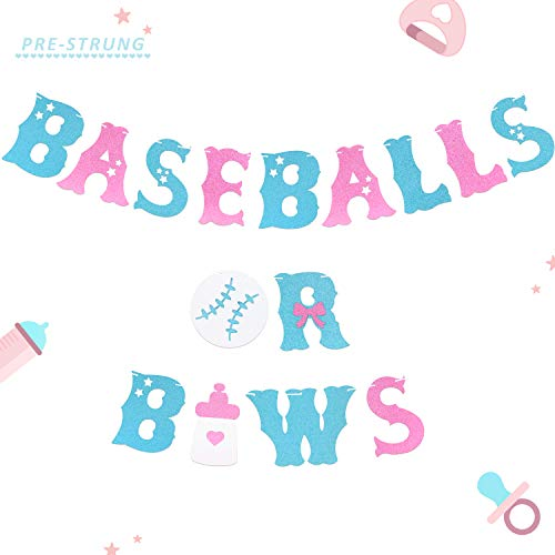 Baseballs or Bows Banner Gender Reveal Themed Boy or Girl Baby Shower Garland Blue or Pink Sports Party Pregnancy Announcement Decor-PRESTRUNG