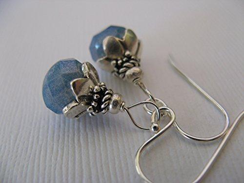 Dangling Earrings Handmade (Pale Blue Lustre Czech Glass Sterling Silver Earrings Dangling Artisan Jewelry)