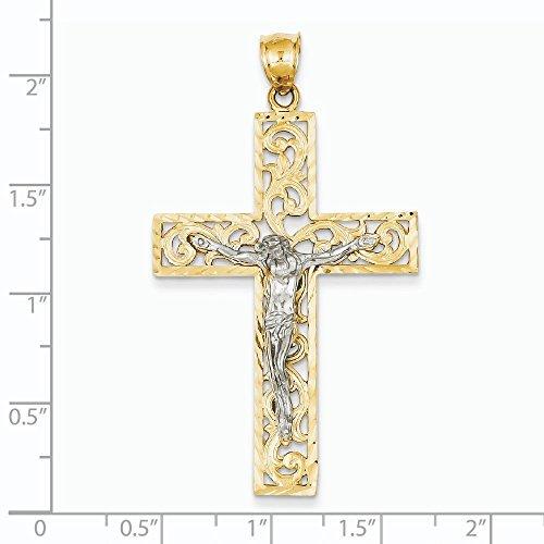 Pendentif Croix en or 14carats Bicolore-Dimensions 32x 32x 57.1mm