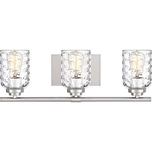 Quoizel CRI8603BN Cristal Bubble Cut Glass Bath Vanity Wall Lighting, 3-Light, 300 Watts, Brushed Nickel (7
