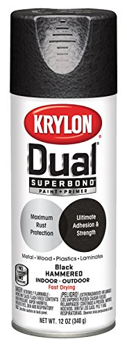 Krylon K08841001 'Dual' Superbond Paint and Primer Hammered Finish, Black, 12 (Black Hammered Paint)