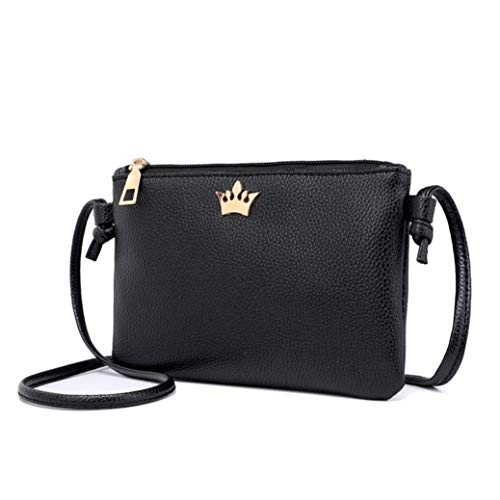 Bags Crown Solid Crossbody Coin Women Shoulder Leather BLACK Bag Bafaretk Fashion Bags Messenger wXqWz1XPn
