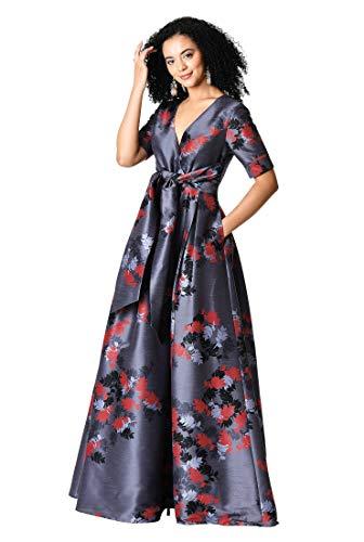eShakti Women's Surplice Floral Print Dupioni Maxi Dress M-8 Regular Purple sage/Multi - Dupioni Gown