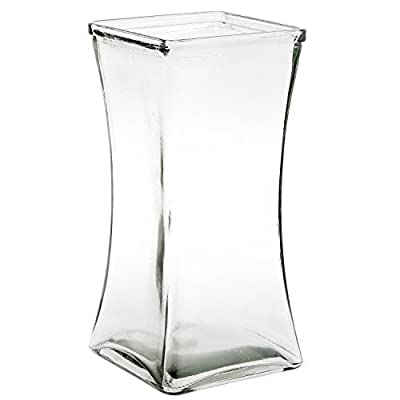 """Flower Rose Bunch Glass Gathering Vase Decorative Centerpiece For Home or Wedding (Fits Dozen Roses) by Royal Imports - Square - 8"""" Tall, 4.5"""" Opening"""