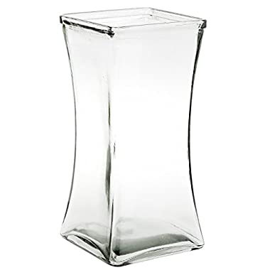 Flower Rose Bunch Glass Gathering Vase Decorative Centerpiece For Home or Wedding (Fits Dozen Roses) by Royal Imports - Square - 8.75  Tall, 4.5  Opening, Clear