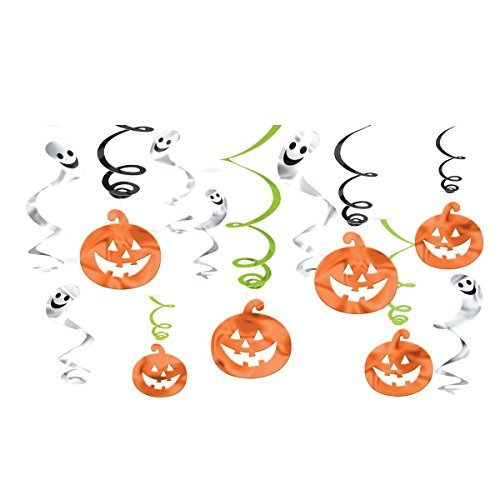 Halloween Hanging Pumpkins and Ghosts Foil Swirls Value Pack- Family Friendly- 12 Pack ()