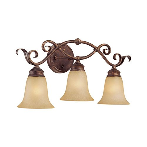 3 Light Bath Vanity Light Finish Burled Bronze Silver