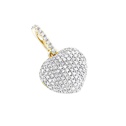 Ladies 14K Affordable Natural Pave Set 0.3 Ctw Diamonds Heart Pendant For Her (Yellow Gold)