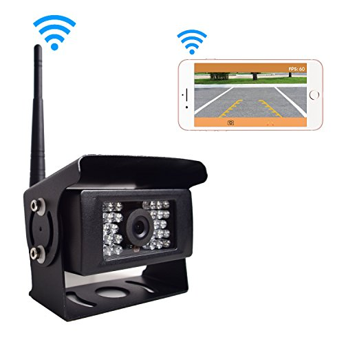 Digital Wireless Backup Camera for Truck RV Camper Vans Trailer, WiFi Rear View Cam 28 IR Lights Night Vision Waterproof Work for iPhone iPad Android Tablet, Transmission Distance Upto 100FT, 12-24V