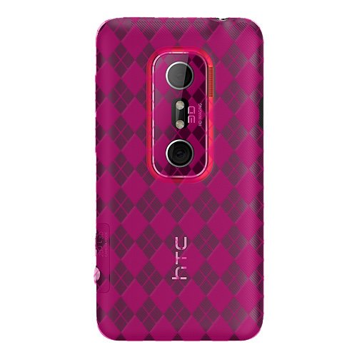 (Amzer Luxe Argyle High Gloss TPU Soft Gel Skin Case for HTC EVO 3D - 1 Pack- Hot Pink)