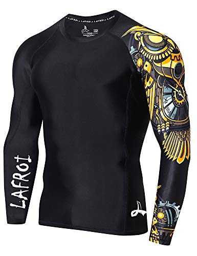 LAFROI Herren Langarm-Baselayer, LSF 50+, Performance-Fit, Kompression, Rash Guard-CLYYB S Asymmetrischer Zeitmanager