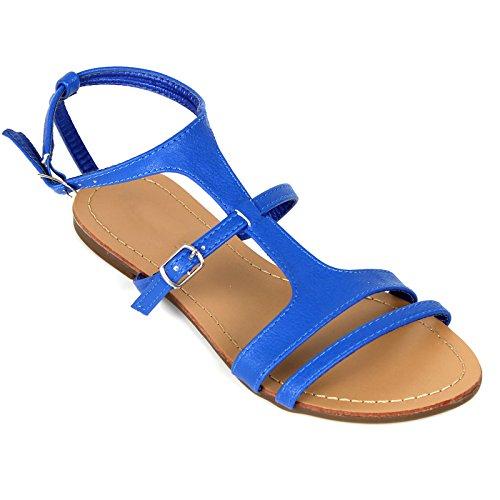 Dames Strappy Gladiator Platte Flip Flop Sandalen Schoenen Zwart