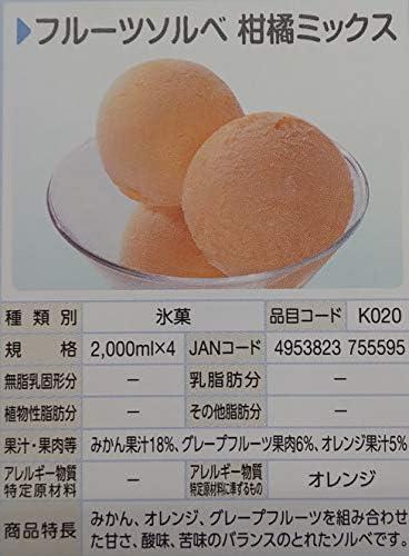 ロッテアイス フルーツ ソルベ 柑橘ミックス シャーベット 2L×4P 冷凍 業務用 氷菓