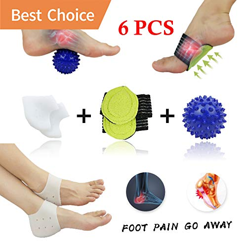 Plantar Fasciitis Inserts, Arch Support, Massage Ball, Best for Heel Pain Treatment, Cracked Heel Protectors, Foot Massager, Flat Feet, Relieve The Swelling and Tingling.(5 PCS)