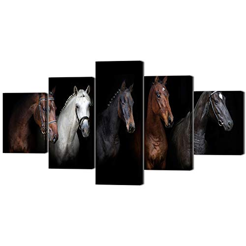 (Yatsen Bridge 5 Piece The Portrait of A Horse Black and White Print Artistic Picture on Canvas Wall Art Decoration for Living Room Home Decor Artwork for Indoor Ready to)