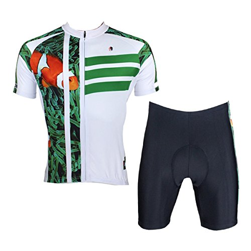 ILPALADINO Men's Cycling Jersey Clothing Set Short Sleeve Fish Animals Pattern (XXL, Clown Fish)