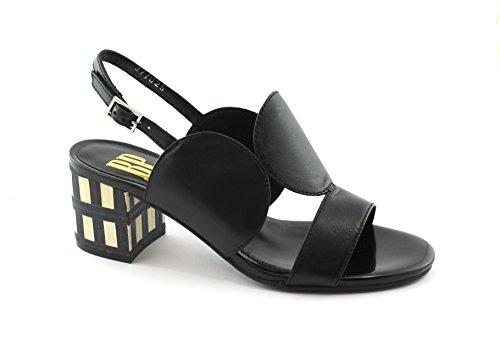 Correa Tacón de Nero de Zone Zapatos Mujer R1100N Negro de Cuero Sandalias de BP CqSvp1n8