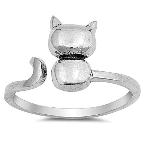 Open Cat Kitten Pet Animal Cute Ring New .925 Sterling Silver Band Size (New Sterling Silver Cat Ring)
