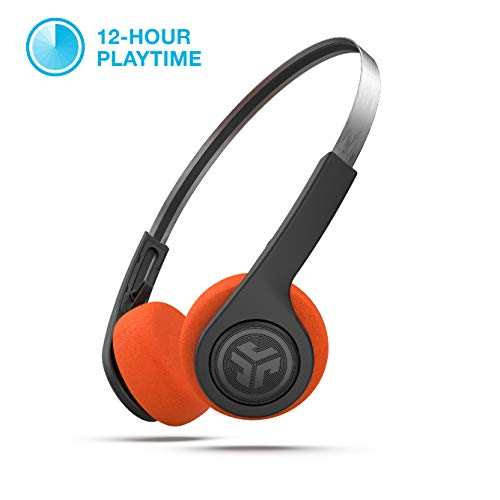 JLab Audio Rewind Wireless Retro Headphones - Black - Bluetooth 4.2 Twelve Hours Playtime Custom EQ3 Sound Play and Pause Your Music Answer & Hang Up Phone Calls and Track Forward Throwback 80s 90s