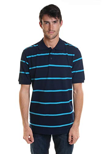 YAGO Men's Short Sleeve 3 Buttons Striped Pique Polo Shirt New (Navy/Blue, 2X-Large)