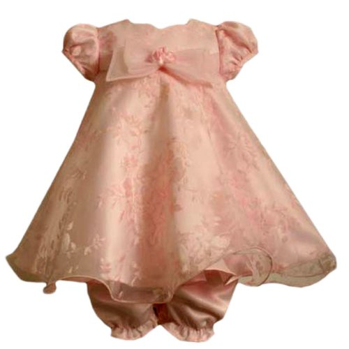 Bonnie Jean Baby/NEWBORN 3M-9M 2-Piece PINK ROSE PRINT BURNOUT ORGANZA OVERLAY TRAPEZE Special Occasion Flower Girl Holiday Party Dress