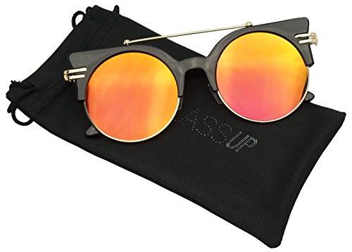 Large Designer Round Cat Eye Half Frame Cross Brow Bar Mirrored Lens Sunglasses (Black / Fire Red Lens, - With Sunglasses Bar Round Brow