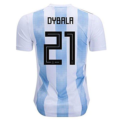 brave Yang Argentina Home 2018 Dybala Men's 21 Soccer Jersey Color White/Blue Size L