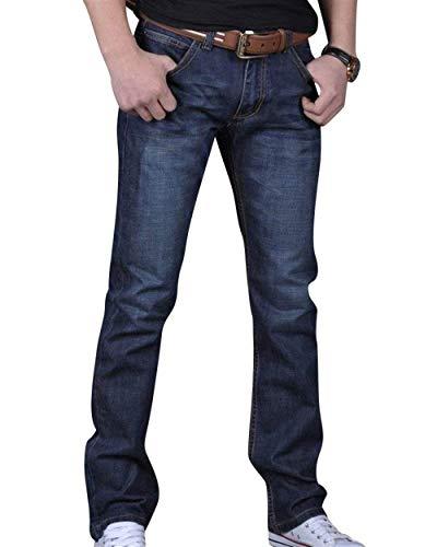 Dritti Da Pantaloni Uomo Jeans Denim Fit Stretch Slim Abbigliamento Regular Confortevoli Dunkelblau qgHH5d