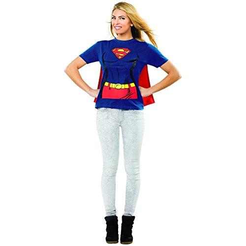 [Female Superhero T-Shirt Costume - X-Large - Dress Size 16-22] (Supergirl Costume Size 22)