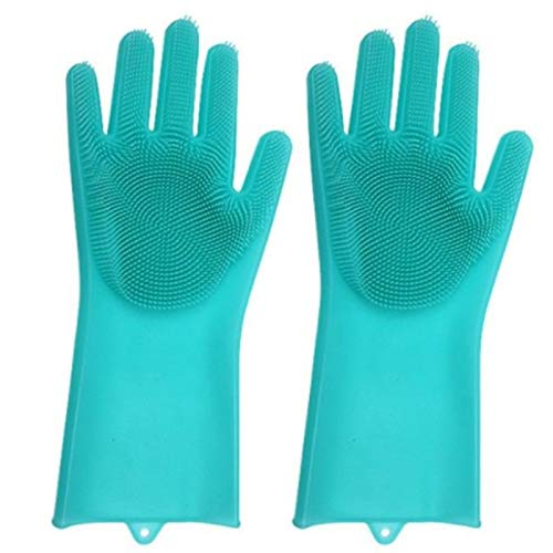A Pair Magic Silicone Rubber Dish Washing Gloves Eco-Friendly Scrubber Cleaning for Multipurpose Kitchen Bathroom Tool Green