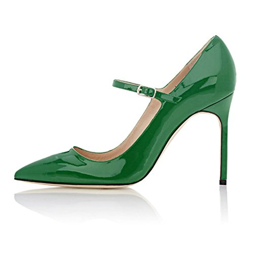 Green Patent Mary Jane - Soireelady Womens High Heel Pumps Mary Jane Court Shoes Office Party Stilettos Green US8
