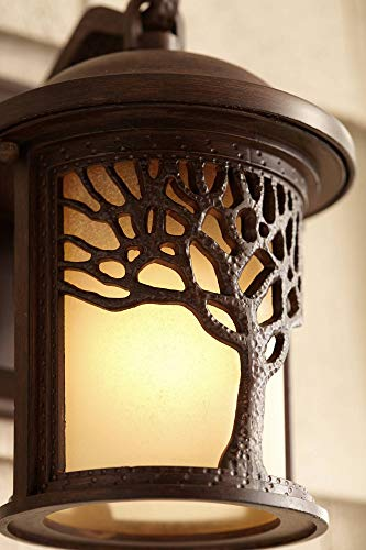 Rustic Outdoor Wall Light Fixture Bronze 9 1/2'' Tree Etched Glass Sconce for Exterior House Deck Patio Porch Lighting - John Timberland by John Timberland (Image #4)