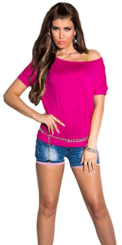 Damen Shirt Kurzarm T-Shirt Tunika 36 38 40 42 Neu Sexy Farbe Neu Pink