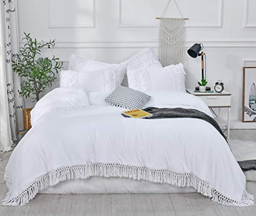 """SexyTown- White Ruffle Tassel Comforter Set,Queen Boho Fringe Bedding with Pillow Shams 3PCS Ultra Soft and Fluffy (Queen(Comforter 90""""×90"""") - ✅【Ruffle Tassel Comforter Set Queen Includes】1 Boho Fringe Comforter 90""""×90""""+ 2 Pillowcases 20""""×26"""" ✅【Feature】 Brushed Microfiber Lightweight Ultra Soft and Fluffy Bedding Comforter Sets are close to skin, Extra Warm and Wrinkle Free, keep you comfortable all through the night.【Enjoy the Tranquillity and Comfort You Deserve!】 ✅【Expert Craftsmanship & Design】Durable Ruffle Tassel hems and stitching ensure an excellent longevity and elegant to fit all decorations. IMPORTANT is, the Whole-piece Polyfill would NOT SHIFT or CLUMP even after wash, with ZERO concern of leakage or ripping. - comforter-sets, bedroom-sheets-comforters, bedroom - 41Ao2mTyeiL -"""