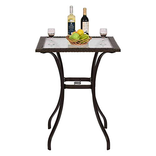 Cypress Shop Rattan Square Coffee Table Wicker Patio Bistro Bar Dining Desk Glass Top Deck Outdoor Indoor Garden Lawn Yard Backyard Side Swimming Pool Furniture with Center Umbrella Hole