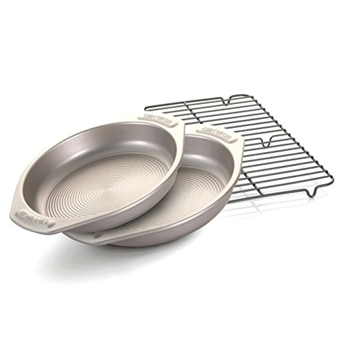 Circulon Nonstick Bakeware 3-Piece Cake Pan Set, Warm Silver