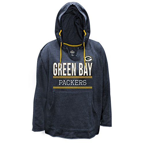 NFL Green Bay Packers V Notched Pullover Hood with Ragged Edge, 1X, Charcoal/Heather by Profile Big & Tall
