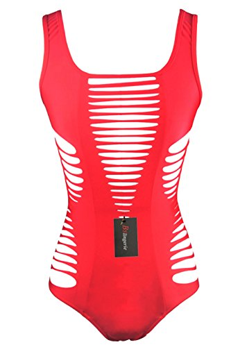 Bslingerie Ladies Fashion Sexy Hollow Out Monokini One Piece Swimsuit (L, Red)
