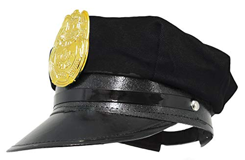 Jacobson Hat Company Police Hat with Bright Gold Plastic Badge - ()