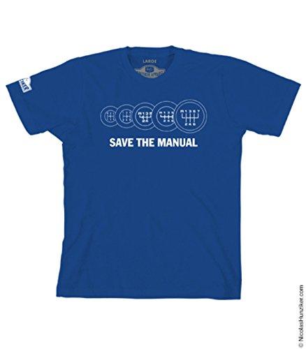 Save the Manual - Royal Blue - Tee-shirt By Nicolas Hunziker (XXL) (Car Sporty Pedal)