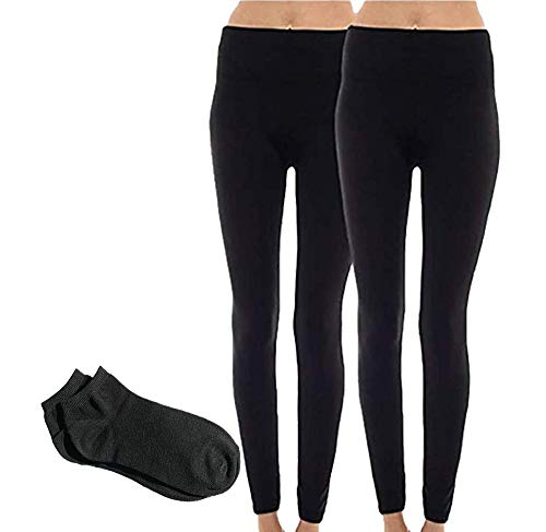 Sofra Women's Classic High Waisted Wide Band Yoga Fleece Value Pack Leggings (Plus Size (XL-3XL), 2 Pack: Black & Charcoal w/Free Blue 55 Socks) (Plus Lined Size Stockings)