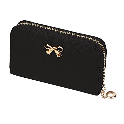 Price comparison product image Bow Short Wallet, Paymenow Women Korean Cute Bowknot Purse Solid Wearable Short Wallet Handbag (Black)