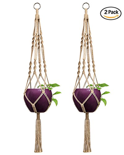 Mkono 2 Pcs Macrame Plant Hanger Indoor Outdoor Hanging Planter Basket Jute Rope 4 Legs 40 Inch