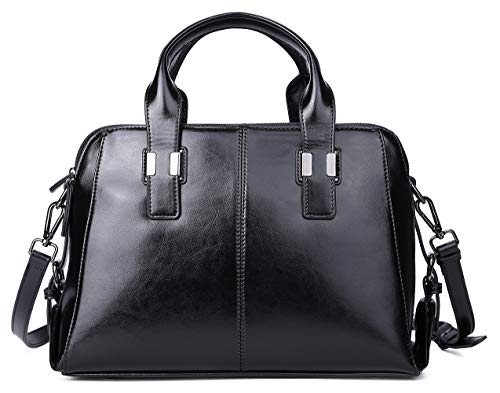 Genuine Leather Handbag for Women Top Handle Satchel Bag Ladies Purses Work Bags 1
