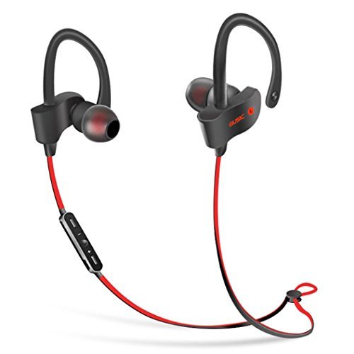 Bluetooth Headphones, AutumnFall Headphones, Noise Cancelling Wireless Earbuds, Sweatproof Sports Running Earphones, Secure-Fit Headset w/Mic (Red)