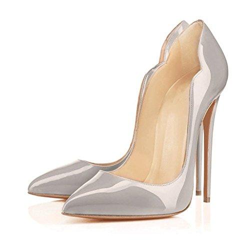 Pointu Chaussures Chaussures Hauts Edefs Stiletto Habillées Bout Gris Tribunal Femmes Pompes Découpez Sexy Talons z711px