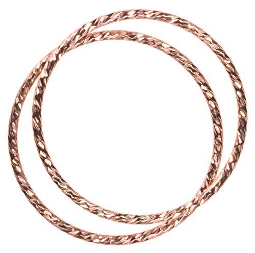 uGems 2 14K Rose Gold Filled Sparkle Stacking Rings Size 8