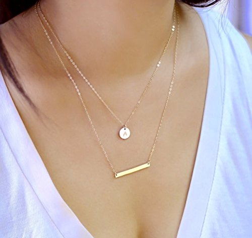 Gold Filled Disc (Bar and Small Disc Layering Necklaces, 14K Gold fill, Sterling Silver or Rose Gold filled)
