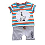 Summer Short Sleeve Set,Kids Boys Casual Stripe Giraffe T-Shirt Tops+Letter Shorts 2Pcs (Light Blue, Recommended Age:6-12Months)